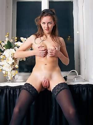 Rebeka Ruby plays with wet